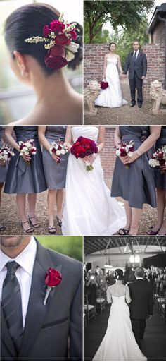 grey dresses with dark red and purple flowers :-)
