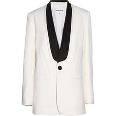 Emilio Pucci Wool and silk-blend tuxedo jacket (94,725 INR) ❤ liked on Polyvore featuring outerwear, jackets, blazers, coats, emilio pucci, white, short-sleeve blazers, tuxedo jacket, white tux jacket and white blazer