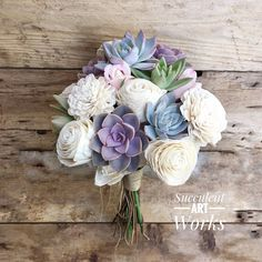 Succulent and Sola Flower Wedding Bouquet, Customized Wedding Bouquet, Bridal Bouquet, Brides Bouquet, Mixed Succulent and Sola Bouquet by SucculentArtWorks on Etsy https://www.etsy.com/listing/583262157/succulent-and-sola-flower-wedding
