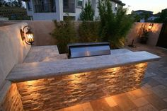 L Shaped Outdoor Kitchen, Stone Counters. Outdoor Kitchen Lisa Cox Landscape Design Solvang, CA Modern Outdoor Kitchen, Outdoor Kitchen Bars, Backyard Kitchen, Backyard Patio, Backyard Landscaping, Outdoor Kitchens, Backyard Ideas, Outdoor Bars, Outdoor Bar And Grill