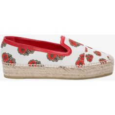 Alexander McQueen Poppy Print Espadrille ($250) ❤ liked on Polyvore featuring shoes, sandals, floral espadrilles, leather espadrilles, leather sandals, rubber sole shoes and espadrille shoes