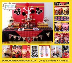 Mesa de snacks y dulces con tema de Mickey Mouse para cumpleaños de 1 año.