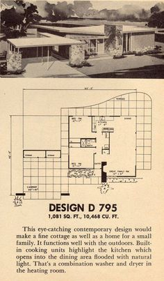 Another simple, clean plan. Design D 795 Vintage House Plans, Modern House Plans, House Floor Plans, The Sims, Mcm House, Googie, Mid Century House, Modern Exterior, Architecture Plan