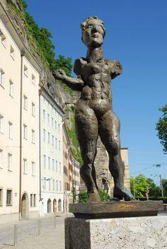 """Markus Lüpertz / """"Hommage to Mozart"""" 2005 / at Ursulinenplatz, in front of St. Mark's Church / Salzburg #salzburg #art #walkofmodernart #markusluepertz #salzburgfoundation #sculpture"""