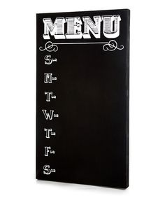 Black Chalkboard Menu