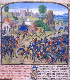 15th century French and English forces at the Battle of Chizé (1373).   (BNF, FR 2643)   Jean Froissart, Chronicles   fol. 406   Flandres, Bruges 15th Century.