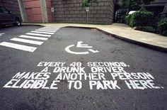The Print Ad titled GUERRILLA PARKING was done by Wongdoody advertising agency for product: Mothers Against Drunk Driving (brand: Madd) in United States. It was released in Jan Street Marketing, Guerilla Marketing, Marketing Tactics, Corporate Design, Driving Quotes, Dont Drink And Drive, Drunk Driving, Distracted Driving, Driving School