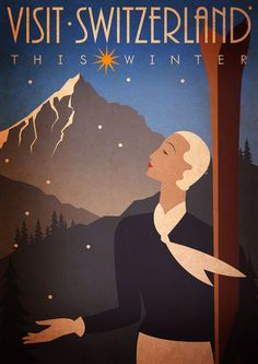 Original Design A3 Art Deco Bauhaus Poster Print Vintage Visit Switzerland Winter Ski Holiday Snow Mountains The Swiss Alps 1920s Vogue