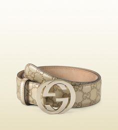 metallic leather belt with interlocking G buckle