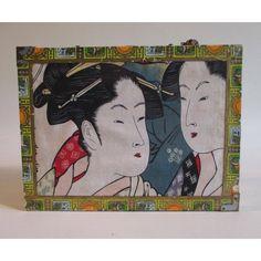 Cigar Box Handbag, Vintage Repurposed, Romeo and Julietta Bag, Asian... ($10) via Polyvore featuring man bag, vintage purses, purse bag, vintage handbags and vintage handbags purses