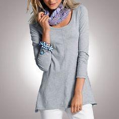 Basic- Longshirt / Tunika / Shirt von Flashlights grau-melange Gr.32 NEU   eBay