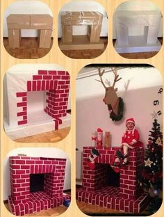 Make a cardboard fireplace for Christmas! - Places Like Heaven- Faire une cheminée en carton pour Noël! – Places Like Heaven Make a cardboard fireplace for Christmas! Make a cardboard fireplace for Christmas! Diy Christmas Fireplace, Christmas Door, Simple Christmas, Christmas Holidays, Christmas Ornaments, Fake Fireplace, Fireplace Drawing, Country Fireplace, Cottage Fireplace