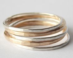 Stacking Rings Sterling Silver 14k Yellow Gold by CylleneJewelry, $30.00