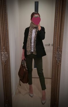 Black jacket, olive green pants, white shirt, brown bag, beige shoes and leopard print scarf - http://ameblo.jp/nyprtkifml