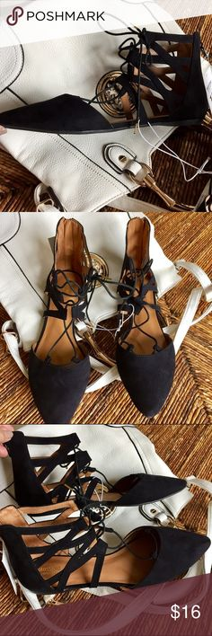 Mossimo Sz 10 Black Suede Flats Lace Up Back Zip Never worn Tags still on  Tiny scuff on the point of one toe but you can't see it from the top.  Black suede, back zip, lace up flats.  Nice! Mossimo Supply Co Shoes Flats & Loafers