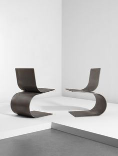 """Scott Burton Pair of """"Two Curve Chairs"""" 1989 Lacquered hot-rolled steel."""