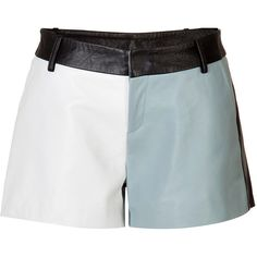 Each Other Leather Colorblock Shorts (£194) ❤ liked on Polyvore featuring shorts, multicolored, color block shorts, multi colored shorts, loose fit shorts, patchwork shorts and loose shorts