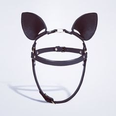 #Manokhi Bunny Ears Headband in black leather with gold or silver accesories (your choice)