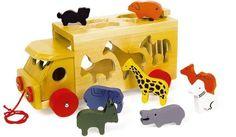Carro dello zoo con animali colorati legno gioco/giocattolo attività x bambini
