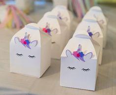 Caja del favor de unicornio / / caja unicornio / / favor de unicornio / / fiesta de cumpleaños de unicornio / / caja del cuerno de unicornio / / unicornio loot bolsa / bolso de goodie