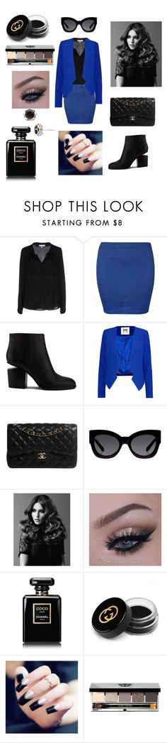 """""""Pop of Color: Dark Blue"""" by inspiration-center ❤ liked on Polyvore featuring Milly, WearAll, Alexander Wang, Chanel, Karen Walker, BaByliss Pro, Gucci, Bobbi Brown Cosmetics and Tacori"""