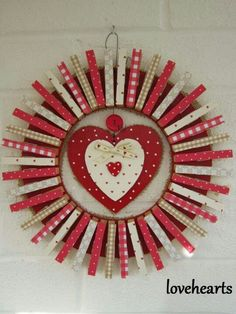 Wreath for Valentine's Day - clothespins