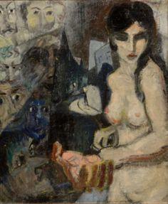 Femme nue aux masques, Huile sur toile, Entourage de James Ensor, Printemps 1927