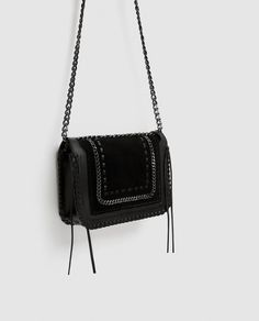 Image 4 of LEATHER CROSSBODY BAG WITH CHAIN from Zara