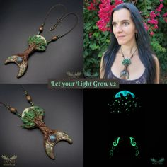 *Let Your Light Grow* - A Unique and Magical Art Necklace - wizArts Art Necklaces, Polymer Clay Necklace, Shape And Form, Brass Chain, Dark Art, Unique Art, Labradorite, Jewelry Art, Sculpting