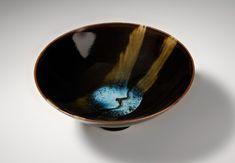 Ceramics by James Hake at Studiopottery.co.uk - Hump thrown bowl 14 cm. Tenmoku with two Chun marks. 2008.