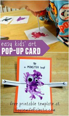 Kids' Art: Monster Hug Pop-Up Card – Housewife Eclectic - kids cards Toddler Crafts, Crafts For Kids, Easy Art For Kids, Kids Pop, Diy Arts And Crafts, Foam Crafts, Decor Crafts, Diy Crafts, Up Book