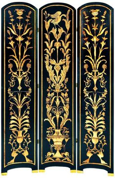 Features:  -Art deco contrasting theme.  -Solid cedar wood.  -Hand-painted.  -Crackle finish.  Product Type: -Folding.  Style: -French.  Theme: -Vintage.  Color: -Black and gold.  Primary Material: -W