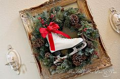 Christmas decoration - ice skate with old frame, greenery and bow