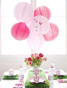 Pixie Fairy Party via Kara's Party Ideas   lantern hanging centerpiece