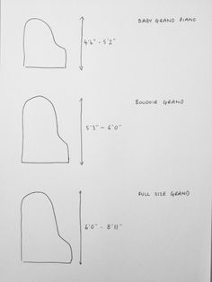 Typical furniture measurements projects pinterest for Dimensions baby grand piano