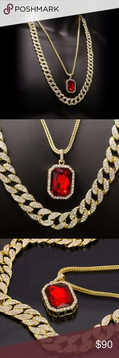 """14k Gold Plated Hip Hop Fully Cz Cuban Chain w/ Ic Bundle includes:  (1) 14K Gold Plated Fully Cz Cuban 15mm 30"""" Inch Chain  (1) Gold Plated Iced Out Ruby Pendant   (1) Gold Plated Franco 3mm 24"""" Inch Chain Accessories Jewelry"""