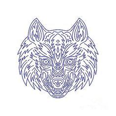 Grey Wolf Head Mono Line by Aloysius Patrimonio