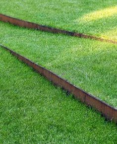 Ideas: 8 Surprising Ways to Use Cor-ten Steel in a Garden Lawn with corten steel edgingLawn with corten steel edging Metal Garden Edging, Steel Edging, Steel Landscape Edging, Grass Edging, Path Edging, Sloped Garden, Sloped Backyard, Garden Steps, Backyard Landscaping