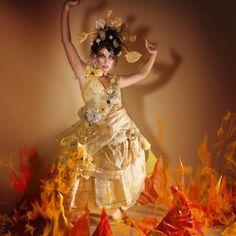 Paper Dress Elements Fire Photo-shoot 2010 Saskia Thompson Photographer,concept and retouching. Debra Rapoport Makeup Stylist 2