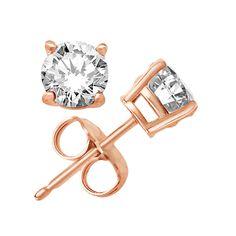 Rose Gold Plated Round Clear White Sterling Silver CZ Stud Earringswomens earrings, jewelry handmade, earring, Stud Earrings 7mm giant studs by YehonatanstoreCo on Etsy https://www.etsy.com/il-en/listing/567972946/rose-gold-plated-round-clear-white