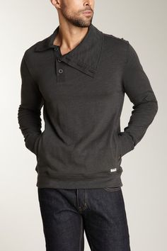 Converse Black Canvas Button Funnel Neck Shirt in Pirate Black charcoal gray