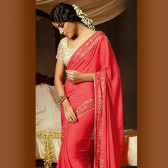 Light #Red Faux Georgette #Saree with Blouse