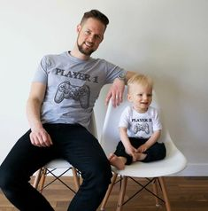 755291ed Father and son matching shirts, father and son matching T-shirts, Player 1  Player 2, Joypad, Controller, UNISEX, Price per item