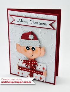 Splotch Design - Jacquii McLeay - Stampin Up - Punch Art Christmas Elf Card
