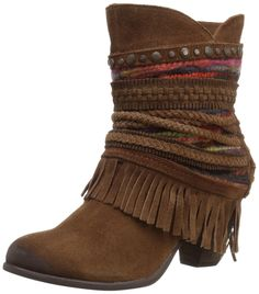 Naughty Monkey Women's Poncho Boot, Tan, 9.5 M US. Burnished-toe boot featuring mid-calf shaft wrapped in braided fabric and fringe with tie-up corset back. Antiqued studs at scalloped topline. Low fringe. Stacked block heel.