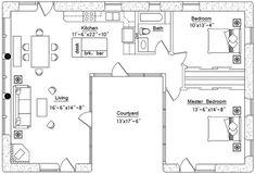 U shaped house plans courtyard pool