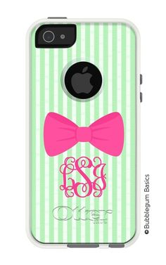 Seersucker and Bow Monogrammed Otterbox {Commuter Series}- Personalized From Me to You