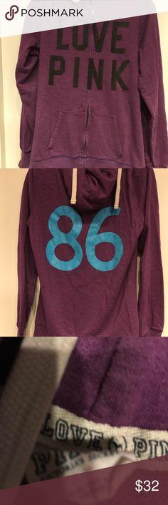 VS PINK hoodie Barely worn, purple hoodie❤️ PINK Victoria's Secret Tops Sweatshirts & Hoodies