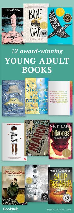 A reading list of 12 books for young adults and for teens, including teen boys and teen girls. Featuring a mix of dystopian, romance, literary fiction, fantasy, and more.