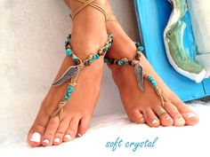 Barefoot Sandals Barefoot Beach Jewelry Blue by SoftCrystal